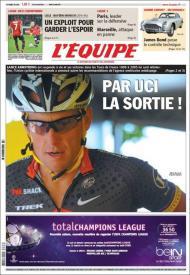 LÉquipe: trocadilho com UCI e a saída de Armstrong