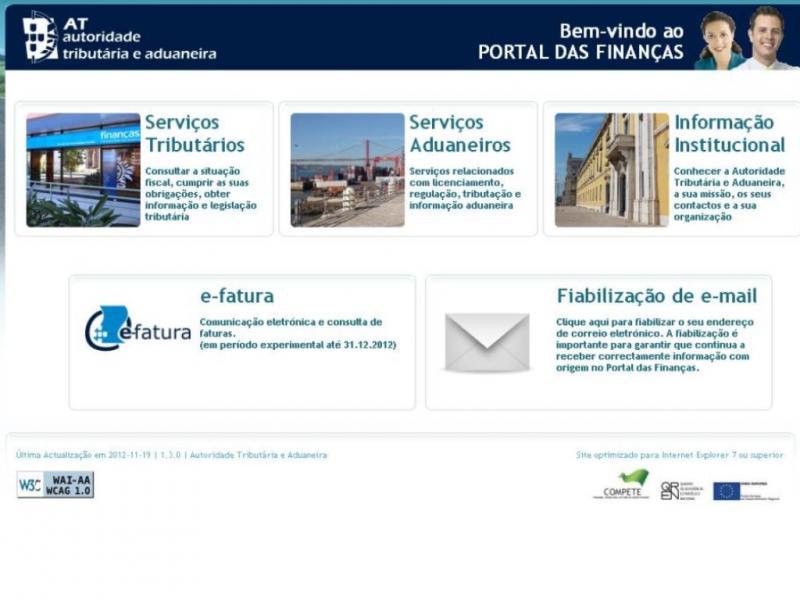 E-fatura: aplicação do Portal das Finanças