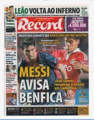 Record: o aviso de Messi maior que o inferno do leão