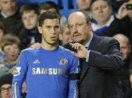 Benítez com Hazard no Chelsea