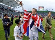 David e Romeo Beckham - David Beckham conta com o apoio dos filhos na despedida dos LA Galaxy Foto: Reuters