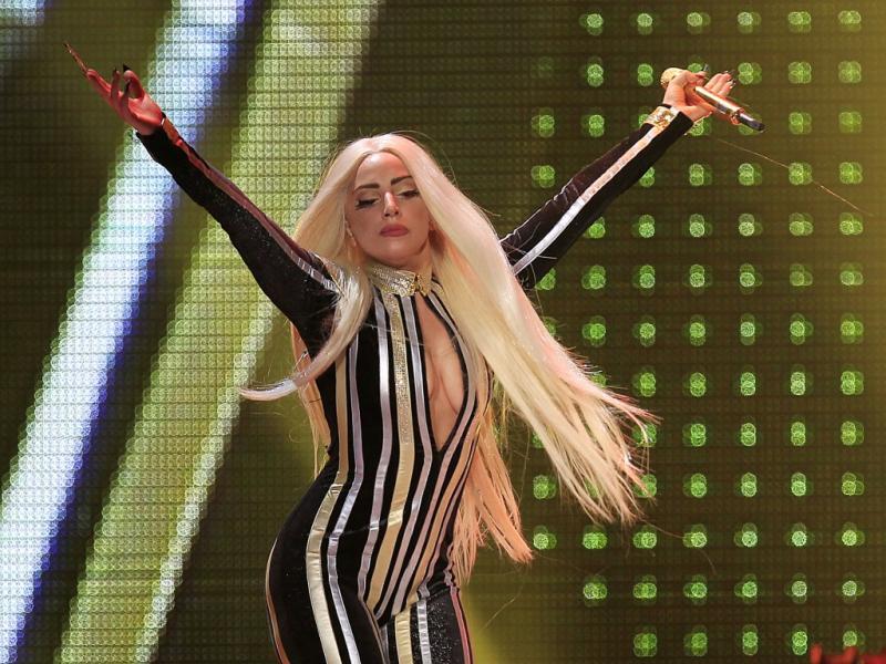 Lady Gaga no concerto dos Rolling Stones em Newark (Reuters)