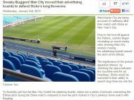 Man City altera publicidade para condicionar adversário?
