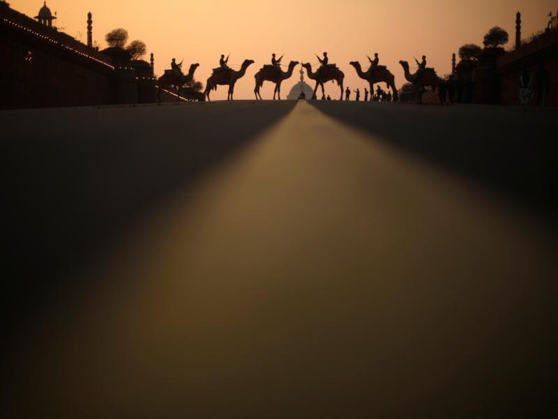 Camelos atravessam uma estrada na Índia (Reuters)