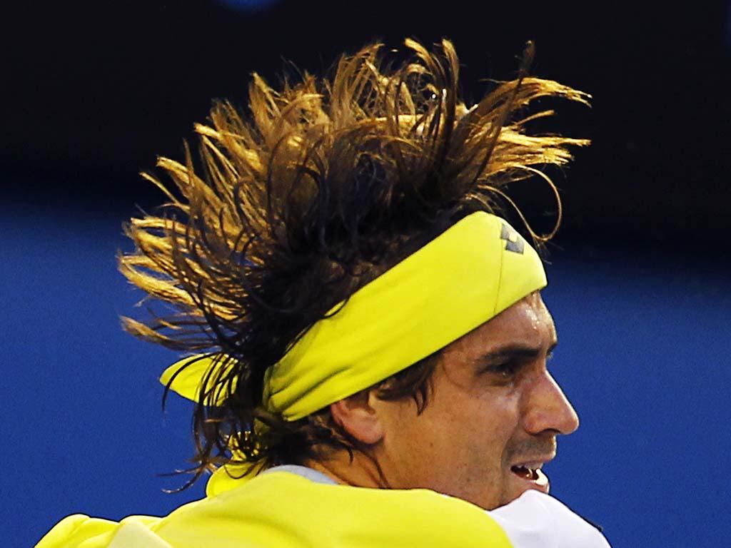 O espanhol David Ferrer responde a Djokovic no Australian Open (REUTERS)