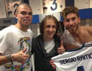 Festa no balneário do Real Madrid