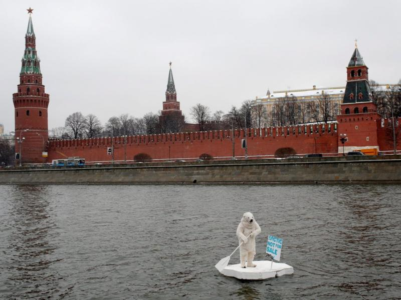 Protesto da Greenpeace em Moscovo [EPA]
