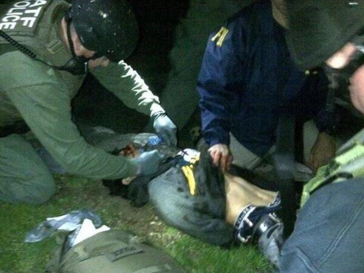 Momento de captura de Dzhokhar Tsarnaev