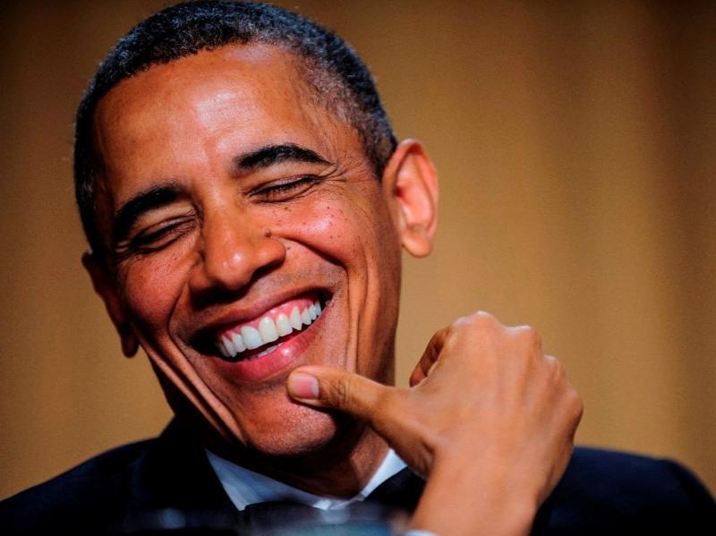 Barack Obama mostra boa disposição e humor no jantar de Correspondentes da Casa Branca (LUSA/EPA)
