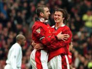 David Beckham: tão novinho, com Cantona no Manchester United