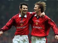 David Beckham: no Manchester United, ao lado do então jovem Ryan Giggs