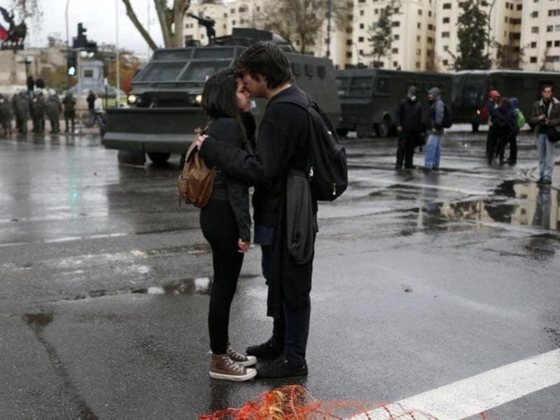Protesto de estudantes no Chile [Reuters]