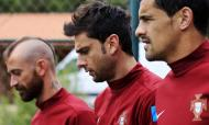 Raul Meireles, Helder Postiga e Ricardo Costa - Seleção treino em Óbidos 6 junho 2013 foto: Reuters