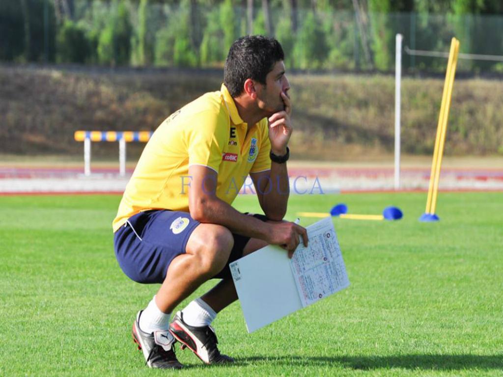 Pedro Emanuel no treino (Foto: Marco Pinto, F.C. Arouca)