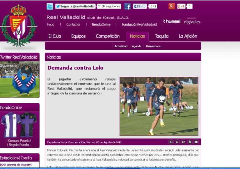 Valladolid na justiça contra Lolo e o Benfica