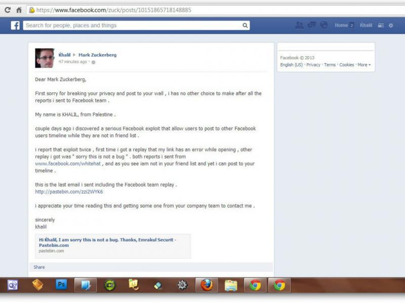 Conta de Zuckerberg no Facebook invadida (Reprodução/http://khalil-sh.blogspot.ru)