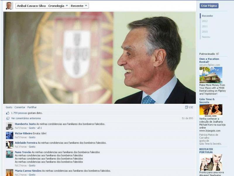 Facebook de Cavaco Silva