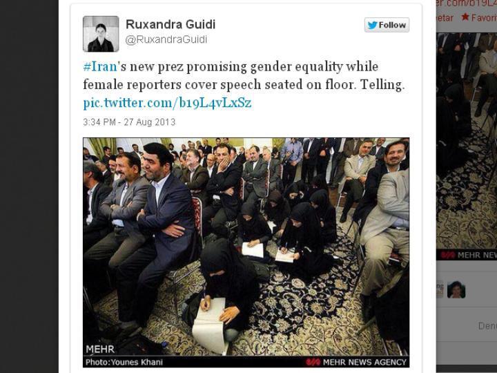 Foto de jornalistas iranianas sentadas no chão torna-se viral