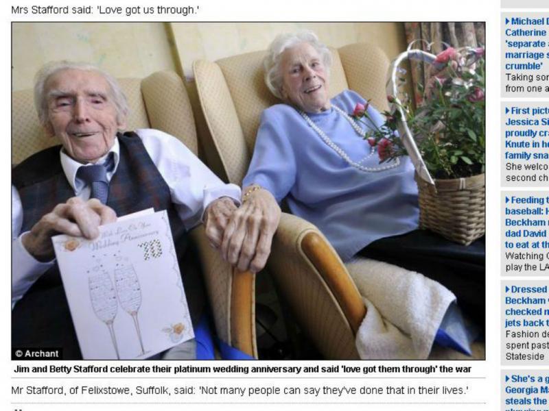 Homem que sofreu quatro quedas de avião comemora 70 anos de casamento (Reprodução/Dailymail)
