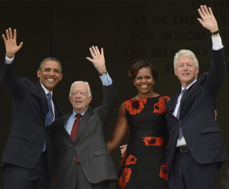 Barack Obama, Michelle Obama, Bill Clinton e Jimmy Carter no evento Let Freedom Ring Foto: Lusa