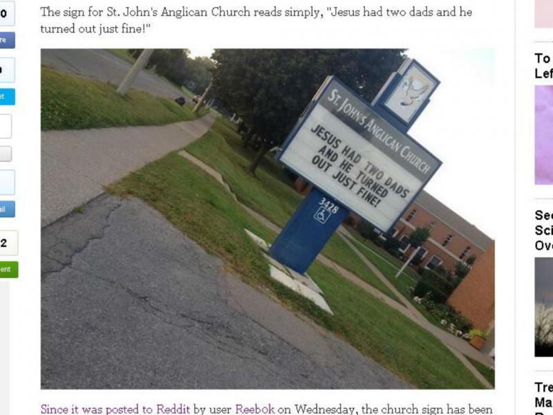 Mensagem de uma igreja contra homofobia (Reprodução/The Huffington Post)