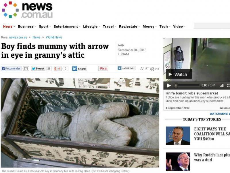 Múmia encontrada num sótão na Alemanha (Reprodução/www.news.com.au)