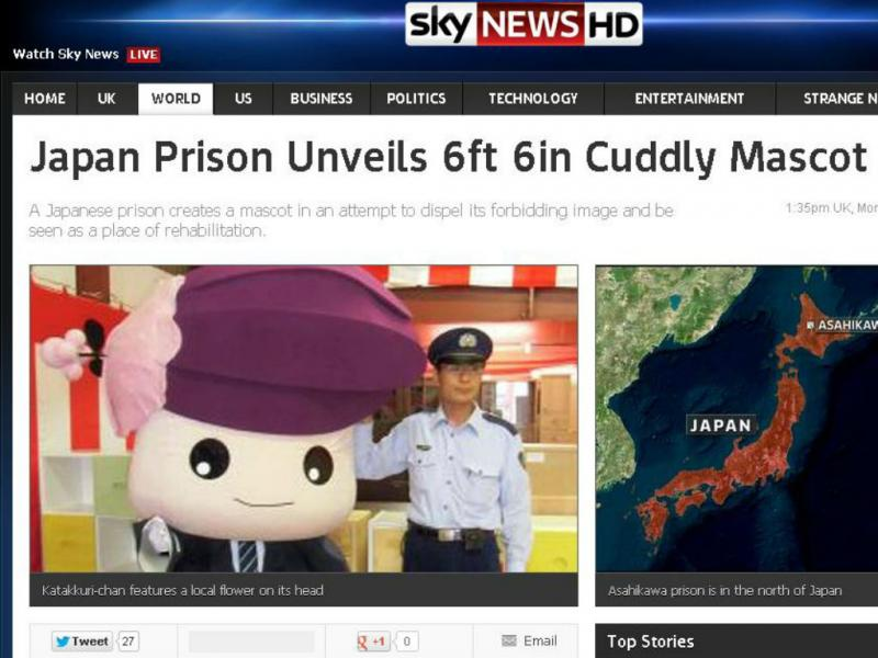 Katakkuri-chan, a mascote da prisão japonesa (Reprodução/Sky News)
