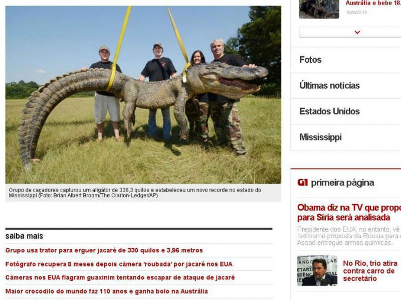 Crocodilo no Mississippi é o maior do mundo (Reprodução/Globo)