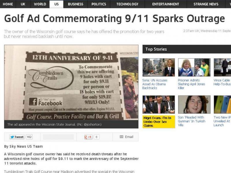 Anúncio de promoção de comemoração do 11 de setembro (Reprodução/SkyNews)