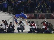 Reação de ChileIsaac Diaz da Universidade do Chile, depois de marcar um golo contra o Equador Independiente JT durante a Copa Sudamericana, em Santiago (Reuters)