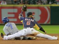 Jogar com estilo - José Reyes e Jonathan Villar durante um jogo dos Toronto Blue Jays contra os Houston Astros (Reuters)