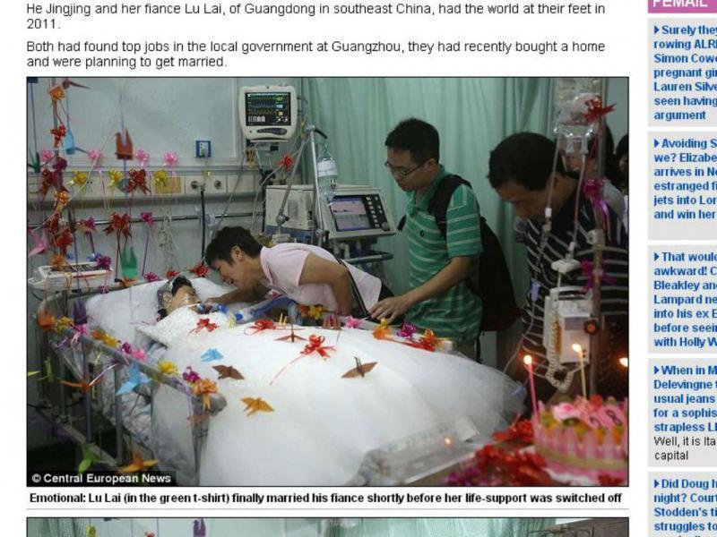 Noiva em coma casa-se na China (Reprodução DailyMail)