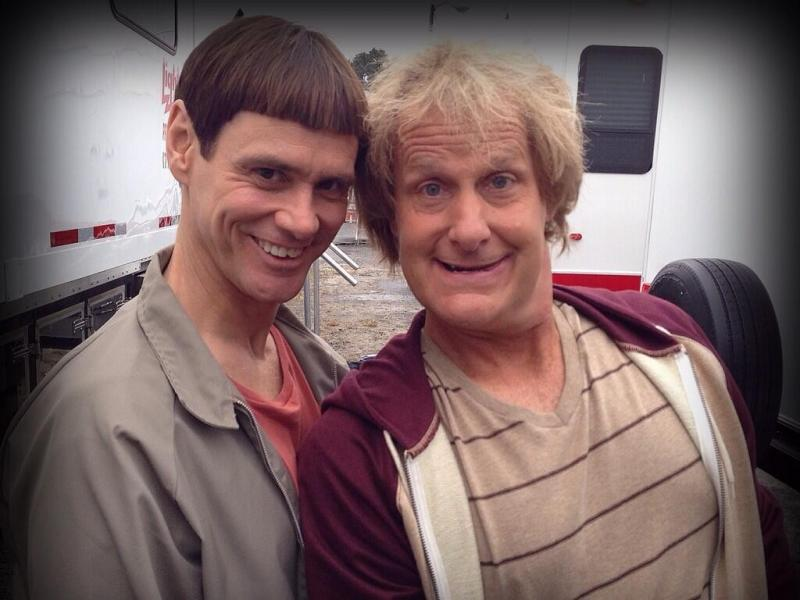 Jim Carrey e Jeff Daniels na rodagem de «Dumb and Dumber To» (Twitter)