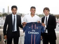 Nasser Al-Khelaifi, Leonardo e Thiago Silva [Reuters]