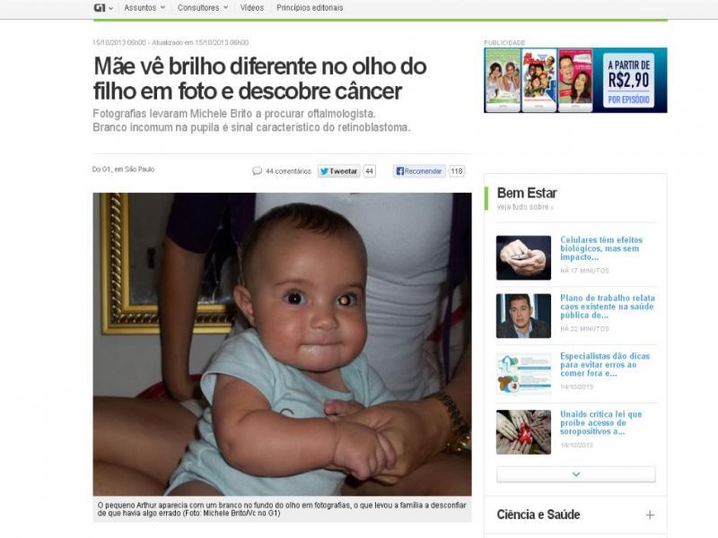 Bebé aparece com uma mancha branca no olho em fotografias (Foto Reprodução/ Michele Brito/Vc no G1)