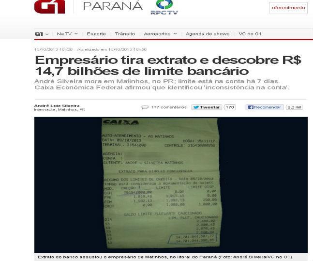 Extrato bancário da conta de André Silveira (Foto Reprodução/G1/Globo)