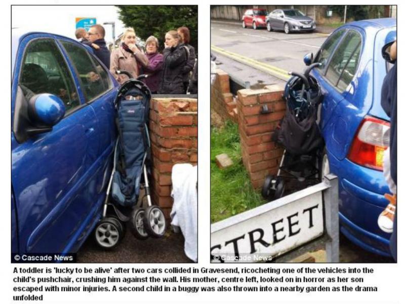 Menino de 2 anos escapa por milagre a acidente (Foto Reprodução Daily Mail)