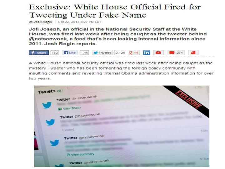 Funcionário da Casa Branca demitido por criticar governo no Twitter (Foto Reprodução/Daily Beast)