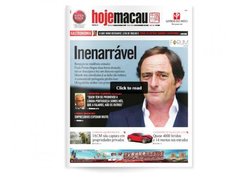 Capa «Macau Hoje»
