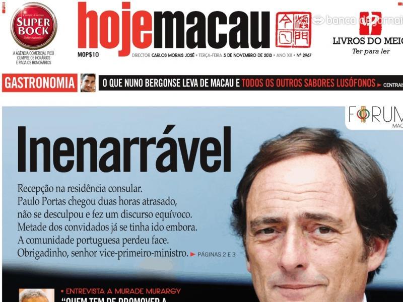 Paulo Portas criticado por chegar duas horas atrasado a sessão oficial em Macau