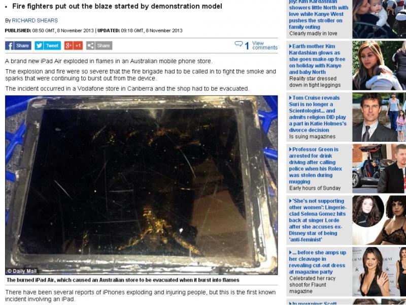 Novo iPad explode durante demonstração na Austrália (Reprodução / Daily Mail)