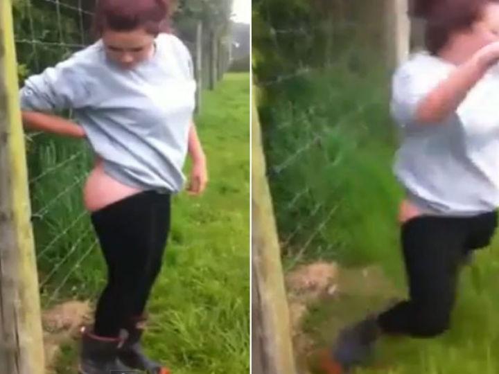 Jovem coloca traseiro em cerca elétrica (Foto: Reprodução/YouTube)