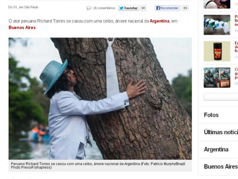 Richard Torres casa-se com árvore (Reprodução / G1 / Patrício Murphy)