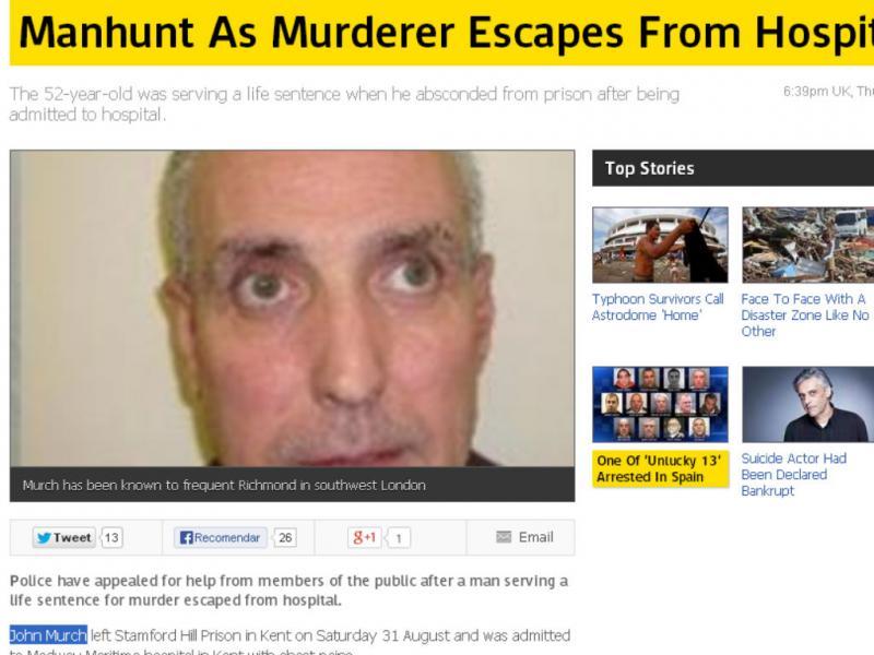 Condenado John Murch fugiu do hospital (Reprodução / Sky News)