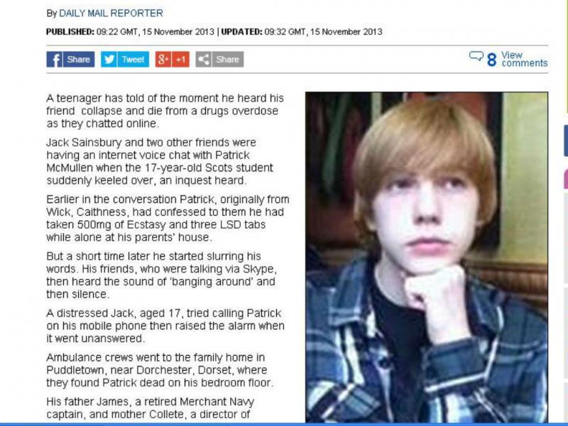 Morre de overdose durante conversa no Skype (foto reprodução Dailymail)