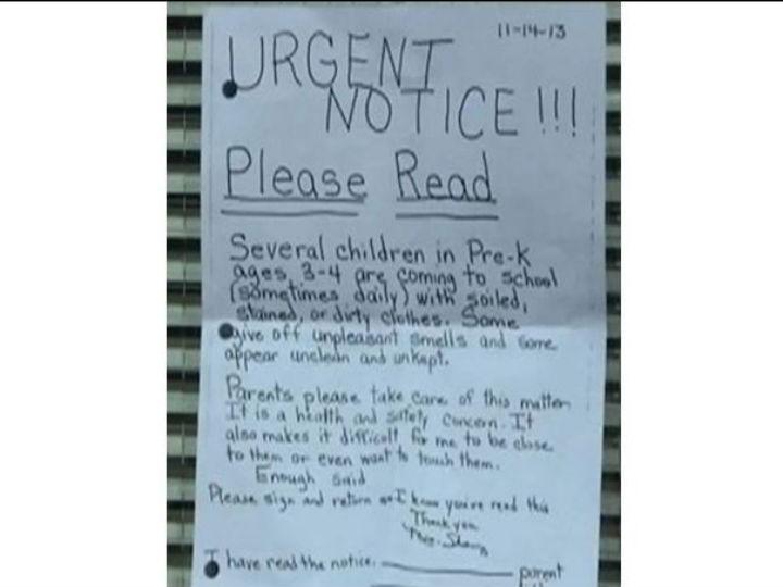 Professora escreve carta aos pais a queixar-se do mau cheiro dos filhos