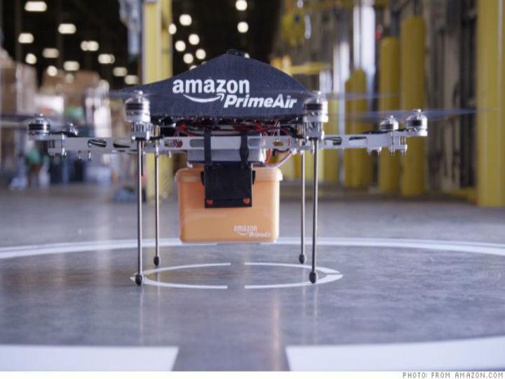 Novo projeto da Amazon: entrega de encomendas com drones (Foto: Reprodução/Amazon)