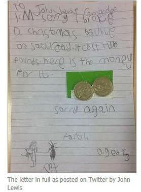 Menina envia pedido de desculpas a loja