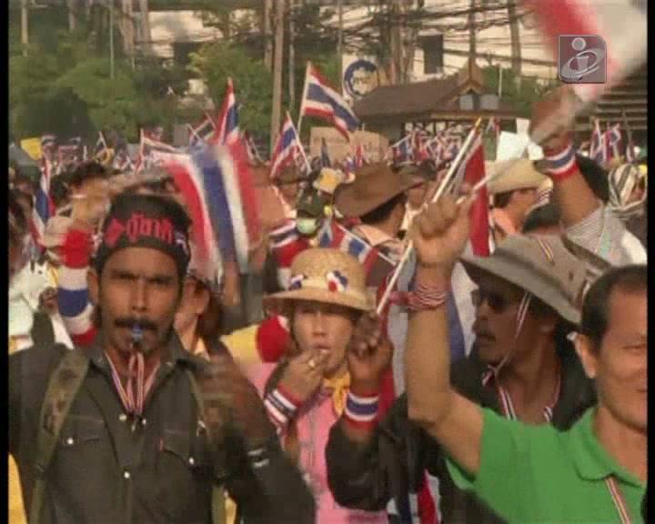 Cem mil manifestantes em protesto nas ruas de Banguecoque