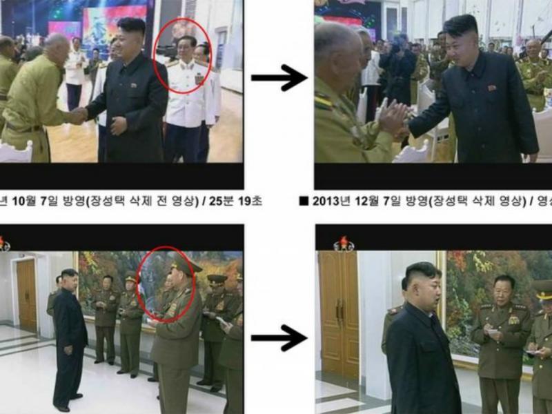Jang Song Thaek foi apagado de várias fotografias oficiais (Reprodução / KCNA / BBC)